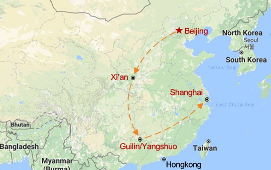 The Classic China Tour Map