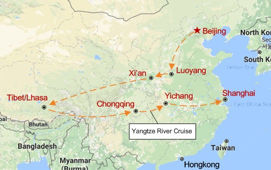 Romantic China Journey Map