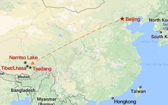 Beijing and Tibet Highlights Tour Map