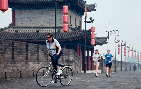 Bike atop Xian's old city wall