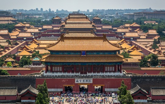 view of the Forbidden City from atop Coal Hill in Jingshan Park