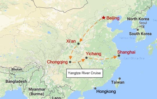 Yangtze River Cruise and China Golden Triangle Map