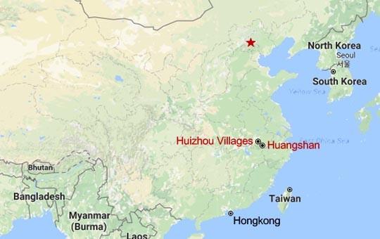 Huangshan and Huizhou Villages Map