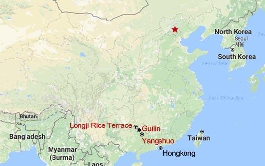 Yangshuo and Longsheng Rice Terrace Rural Adventure Map