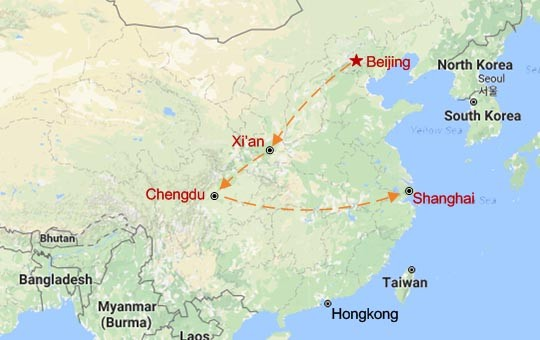 Chengdu and Golden Triangle Map
