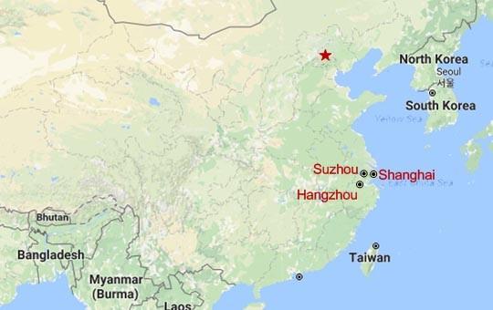 Shanghai plus Suzhou and Hangzhou Triangle Map