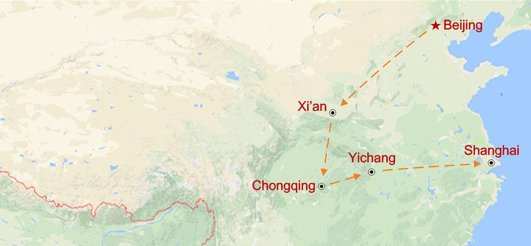 Yangtze Flusskreuzfahrt und Chinas Goldenes Dreieck Map