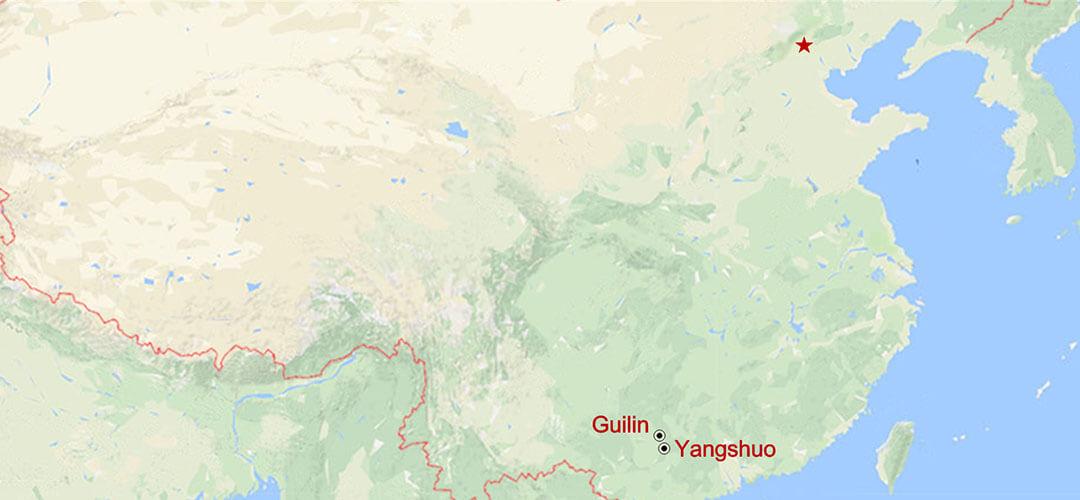 Yangshuo und Longji Reisterassen Landabenteuer Map