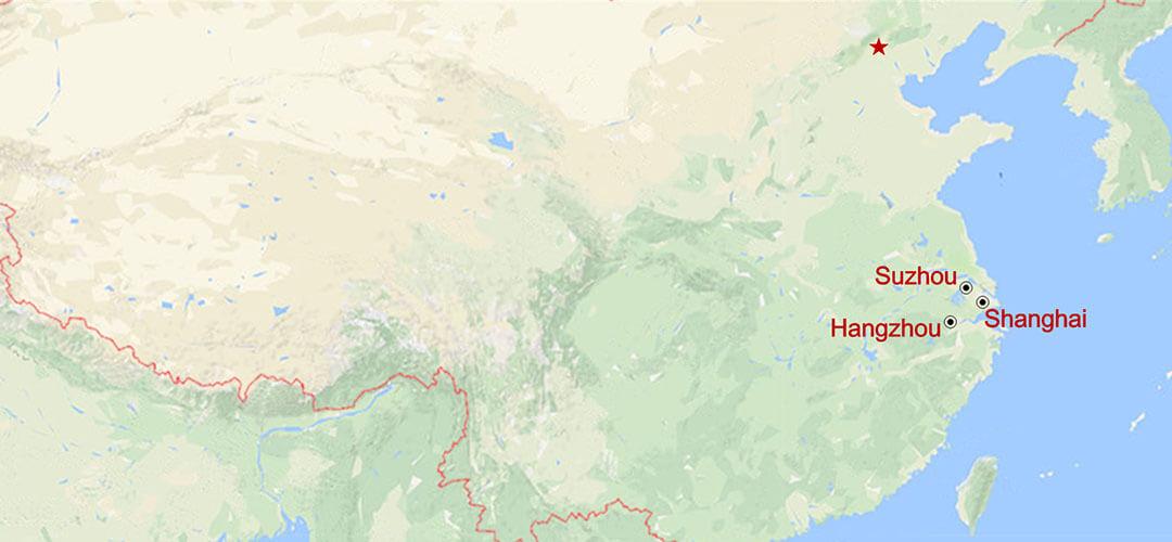 Shanghai-Suzhou-Hangzhou Triangel Tour Map