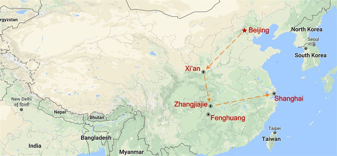 The Golden Triangle Plus Zhangjiajie Map