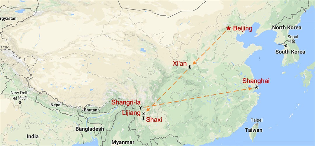 Yunnan Highlights and Golden Triangle Tour Map