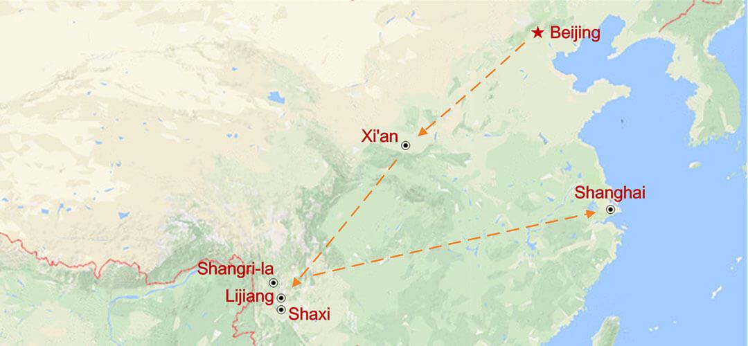 Lo más destacado de Yunnan y Triángulo Dorado Map