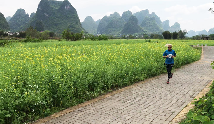 Jogging around Yangshuo's Countryside