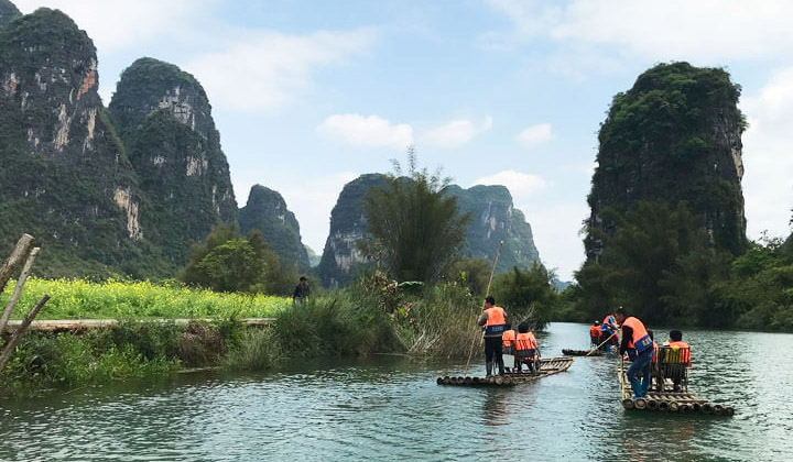 Rafting along the Yulong River
