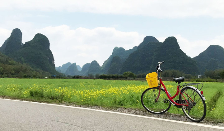 Biking in countryside of Yangshuo