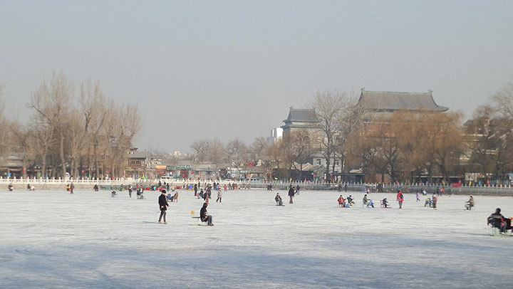 ice skating on houhai lake